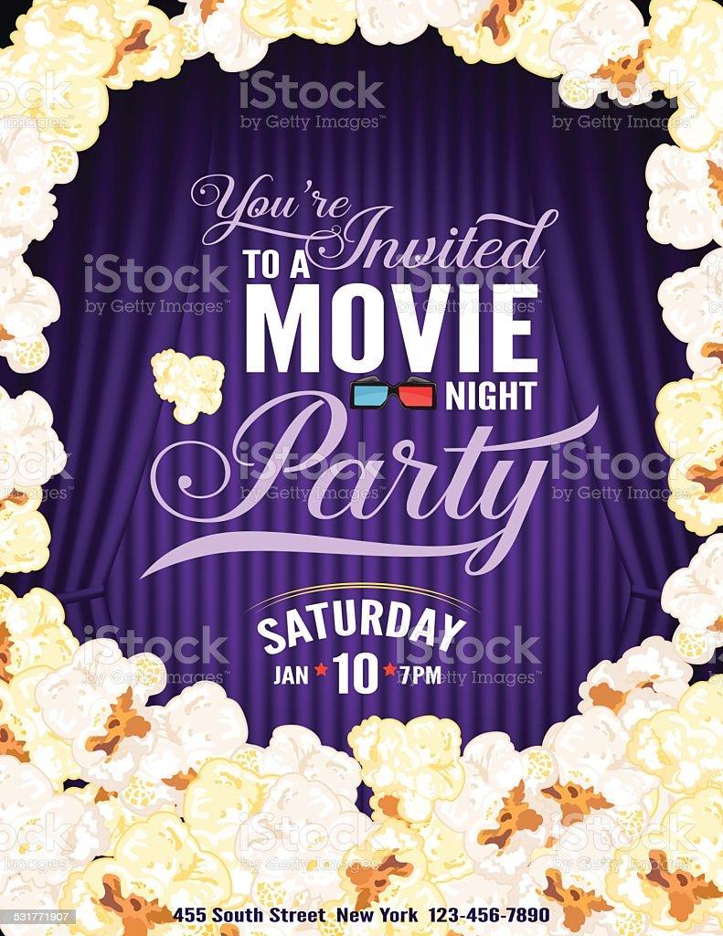 Popcornfilmnachtpartyeinladung Vorlage Mit Vorhang Stock Vektor Art ...