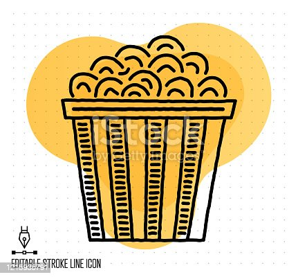 Hand drawn doodle icon for popcorn pack to use as vector design element. Minimalistic symbol made in the style of editable line illustration.