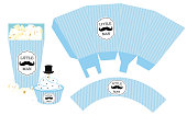 Blue stripes pattern. Print and cut. Fast folded. Mustache bash. Classic trendy style