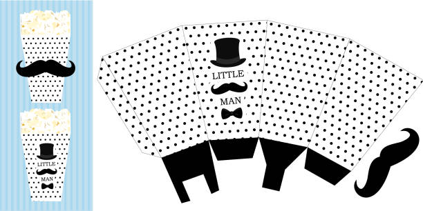 Popcorn paper box. Printable template for little man's birthday(baby shower boy) party. Black dots on white background - candy packing. Print and cut. Fast folded. Mustache bash. Classic trendy style party conference stock illustrations