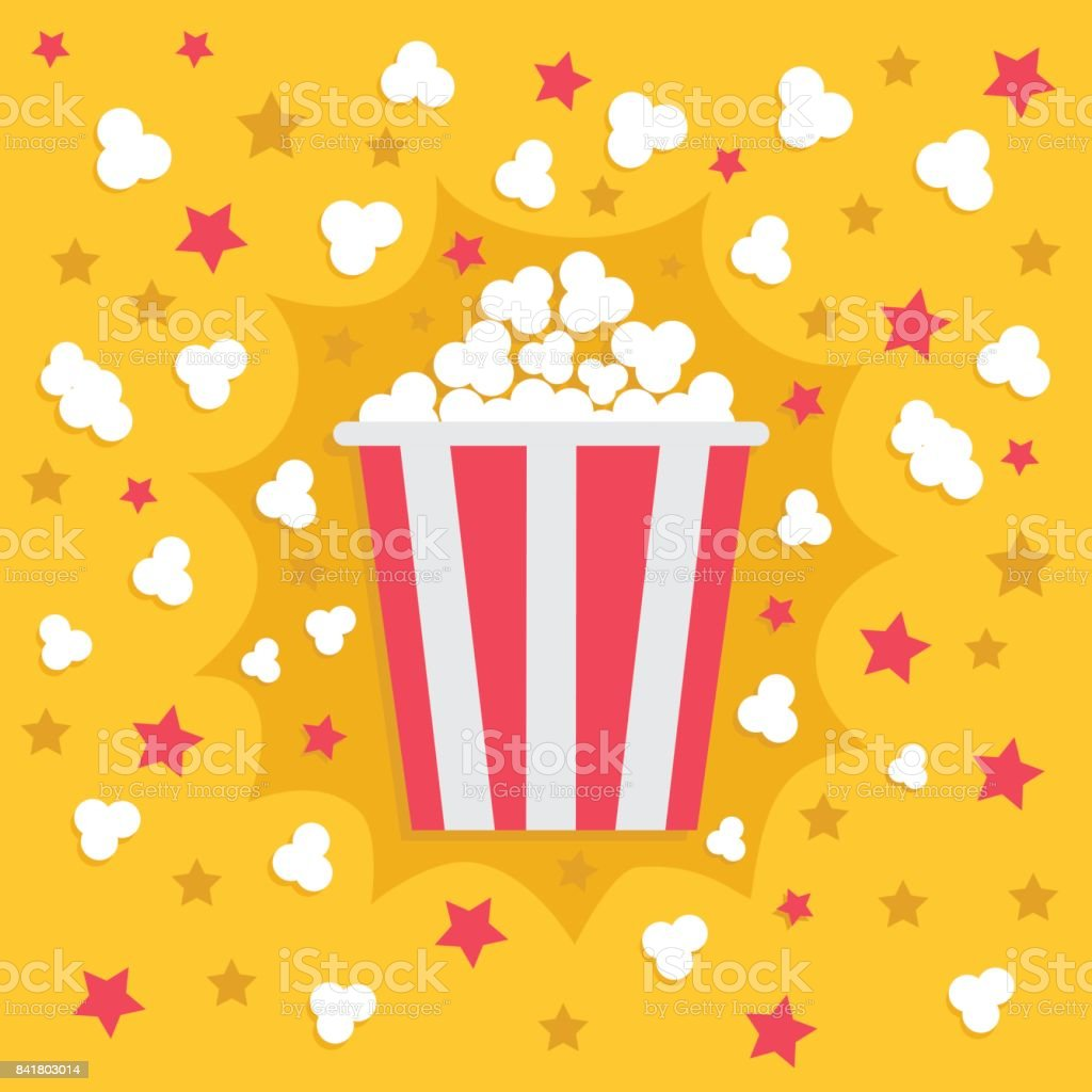 Popcorn popping explosion. Red yellow strip box package. Fast food. Cinema movie night icon in flat design style. Star shadow element. Yellow background. vector art illustration