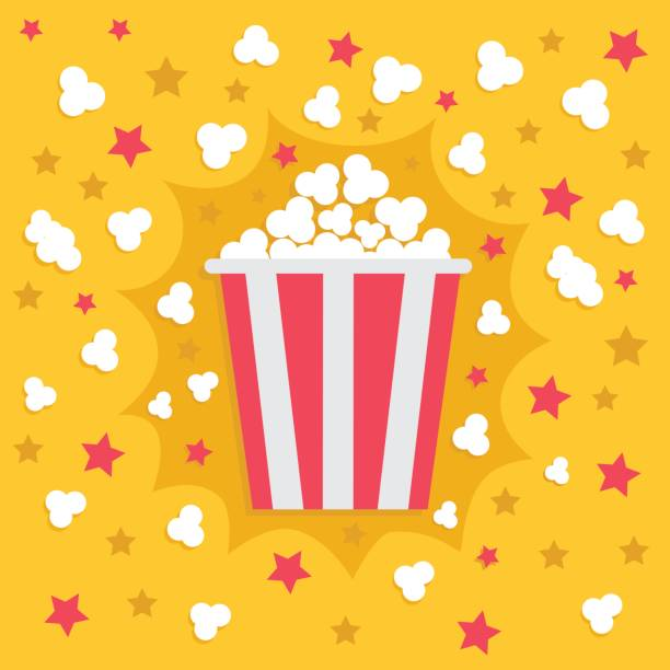 Popcorn popping explosion. Red yellow strip box package. Fast food. Cinema movie night icon in flat design style. Star shadow element. Yellow background. Popcorn popping explosion. Red yellow strip box package. Fast food. Cinema movie night icon in flat design style. Star shadow element. Yellow background. Vector illustration popcorn stock illustrations