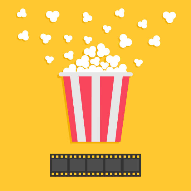 stockillustraties, clipart, cartoons en iconen met popcorn popping. filmstrip. rode gele box. film nacht filmpictogram in platte ontwerpstijl. gele achtergrond. - popcorn