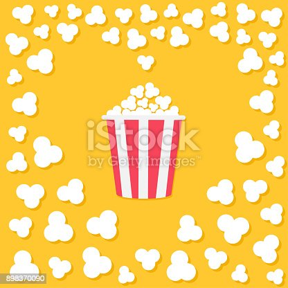 Popcorn popping. Heart shape frame. Red yellow strip box. Cinema movie night icon. Tasty food. Flat design style. Yellow background. Vector illustration
