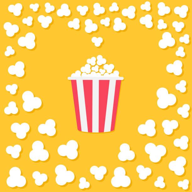 Popcorn popping. Heart shape frame. Red yellow strip box. Cinema movie night icon. Tasty food. Flat design style. Yellow background. Popcorn popping. Heart shape frame. Red yellow strip box. Cinema movie night icon. Tasty food. Flat design style. Yellow background. Vector illustration popcorn stock illustrations
