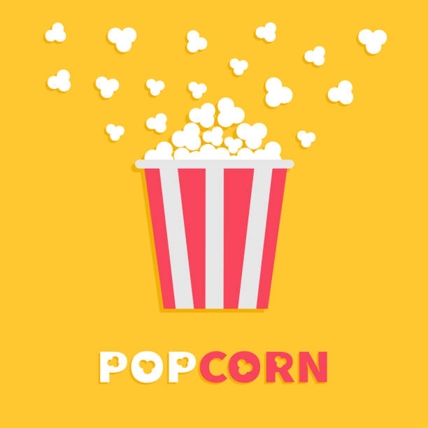 stockillustraties, clipart, cartoons en iconen met popcorn popping. rode gele strook box-pakket. film nacht filmpictogram in platte ontwerpstijl. fast food. gele achtergrond rood witte tekst. - popcorn