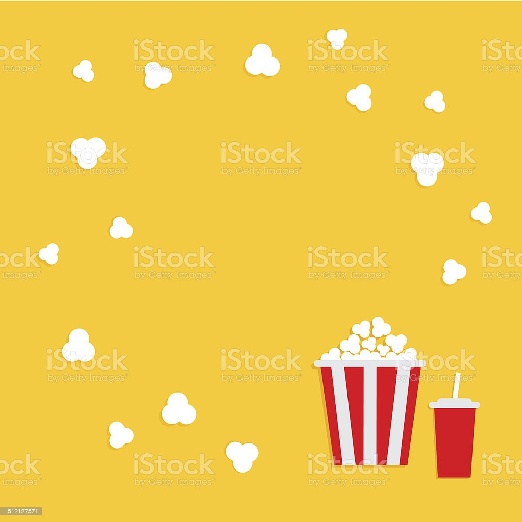 Popcorn round frame. Cinema icon in flat dsign style. vector art illustration