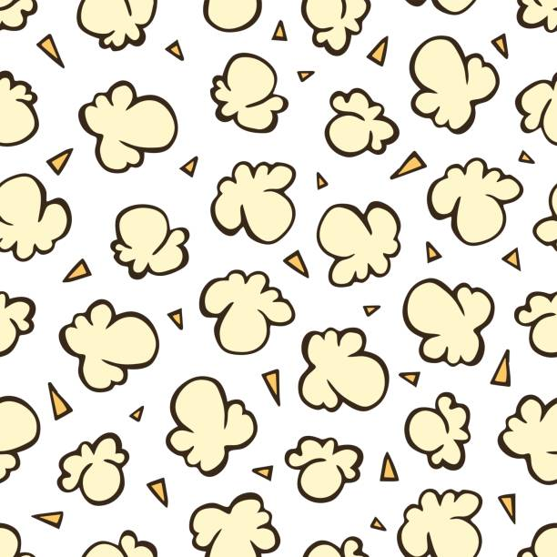 Popcorn Seamless Hand Drawn Vector Pattern Popcorn in vintage style on a white background. Seamless hand drawn vector pattern in retro style. popcorn stock illustrations
