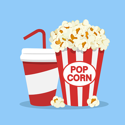 Popcorn snack and drink in flat style isolated on white backgorund.