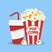 Popcorn snack and drink in flat style isolated on white backgorund. Popcorn and Soda icon. Vector stock