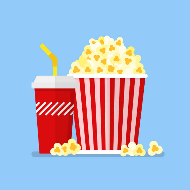 Popcorn snack and drink in flat style Popcorn snack and drink in flat style. Vector illustration popcorn stock illustrations