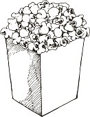 Hand drawn popcorn illustration. EPS8, AI10, high res jpeg included.