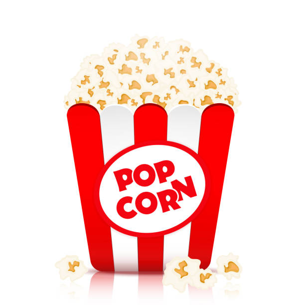 Popcorn vector, realistic illustration. Flakes of popcorn in a paper cup in red and white stripes, isolated on white Popcorn vector, realistic illustration. Flakes of popcorn in a paper cup in red and white stripes, isolated on white popcorn stock illustrations