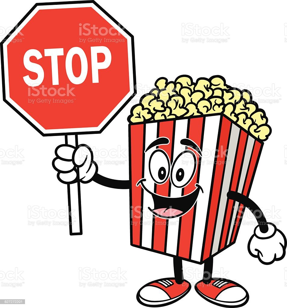 Popcorn with Stop Sign vector art illustration