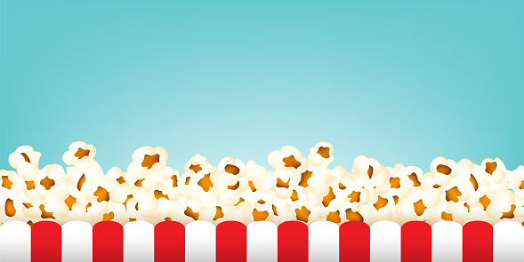 Popcorn with stripped box vector border. Sweetcorn decoration in realistic style.