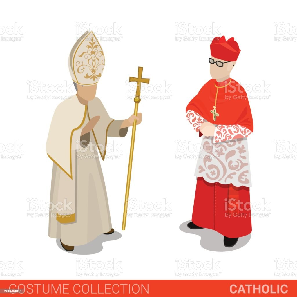 Pope and Cardinal catholic couple. Flat 3d isometric web site vector illustration. People in traditional costume collection. vector art illustration