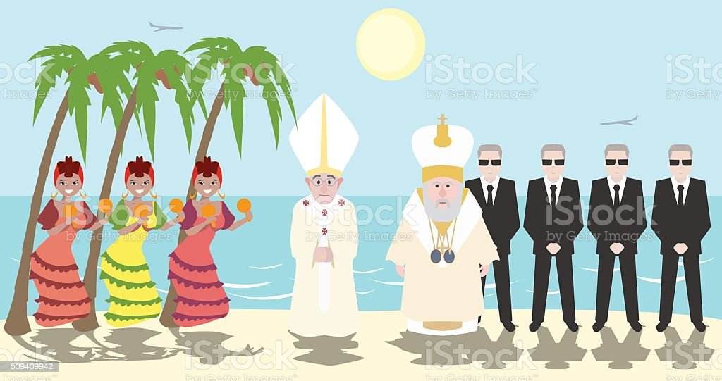 Pope and Patriarch of Moscow meeting at Cuba vector art illustration