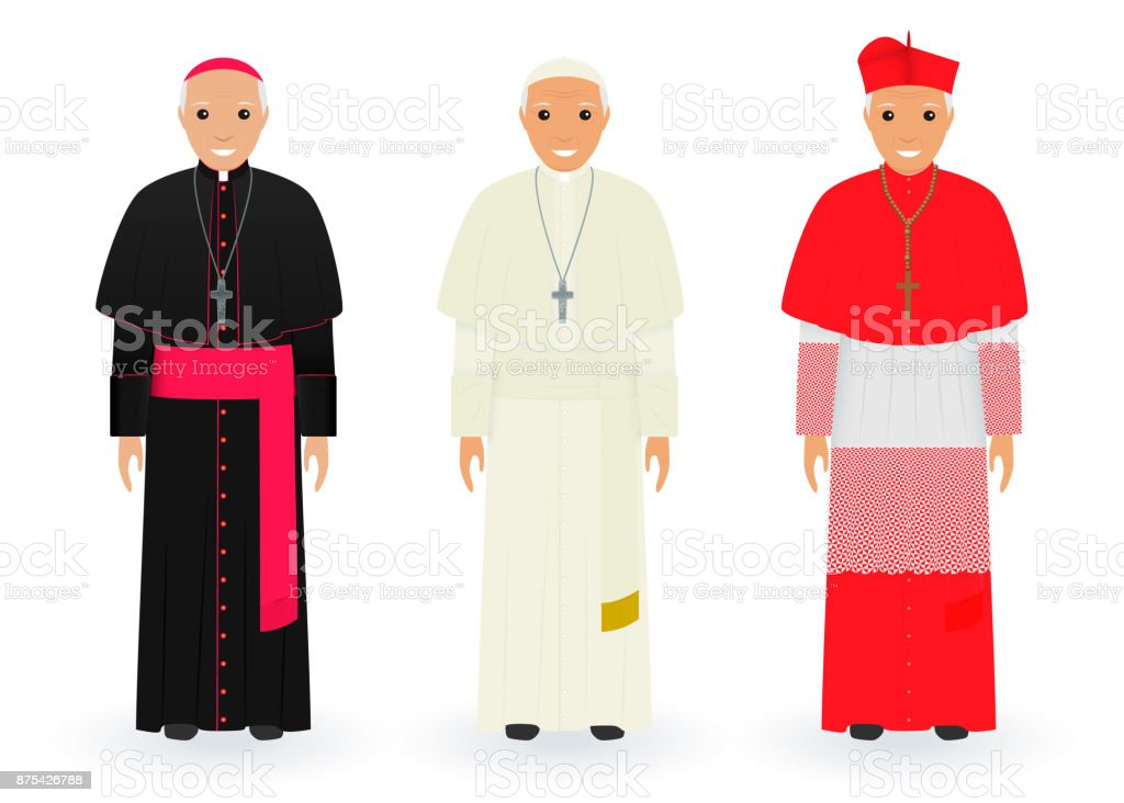 Pope, cardinal and bishop characters in characteristic clothes standing together. Supreme catholic priests in cassocks. vector art illustration