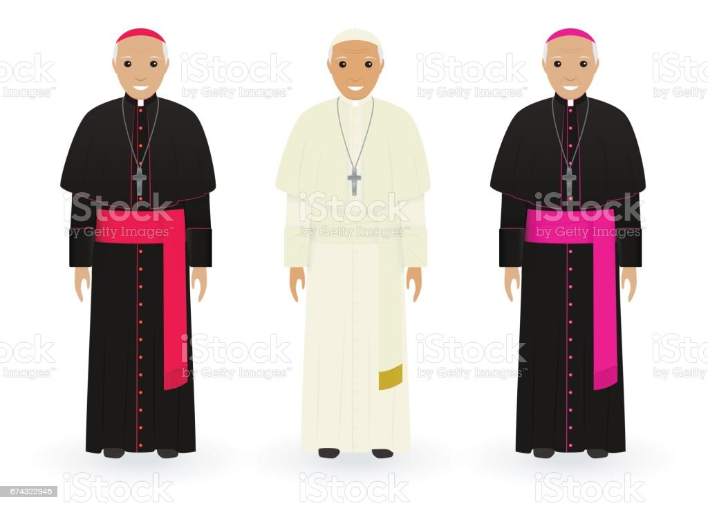 Pope, cardinal and bishop in characteristic clothes isolated on white background. Catholic priests. Religion people. vector art illustration