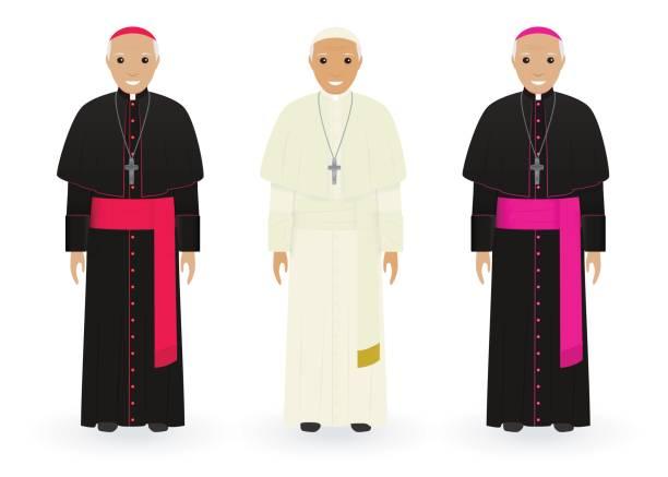 papa, kardinal ve beyaz arka plan üzerinde izole karakteristik giysili piskopos. katolik rahipler. din insanların. - pope francis stock illustrations