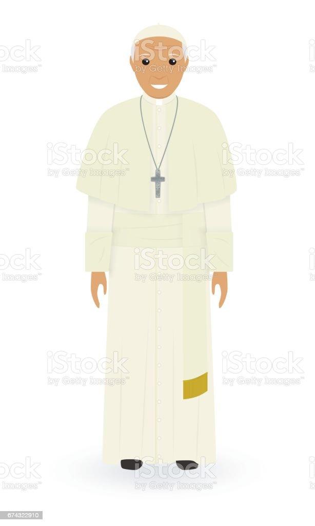 Beyaz bir arka plan üzerinde izole Papa karakter. Yüce Katolik rahip cüppe içinde tek başına ayakta. Din insan kavramı. - Royalty-free Adamlar Vector Art