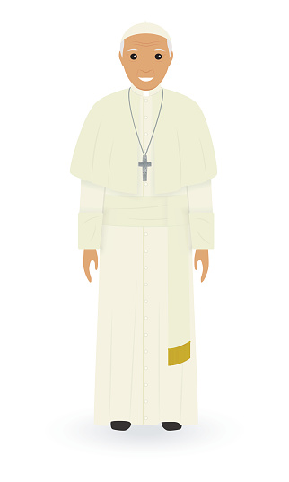 Pope character isolated on a white background. Supreme catholic priest stand alone in cassock. Religion people concept.