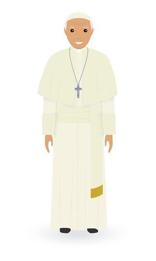 Beyaz Bir Arka Plan Üzerinde Izole Papa Karakter Yüce Katolik Rahip Cüppe Içinde Tek Başına Ayakta Din Insan Kavramı Stok Vektör Sanatı & Adamlar'nin Daha Fazla Görseli
