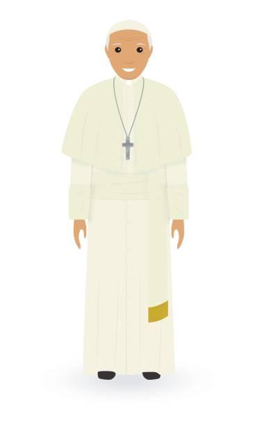 beyaz bir arka plan üzerinde izole papa karakter. yüce katolik rahip cüppe içinde tek başına ayakta. din insan kavramı. - pope francis stock illustrations
