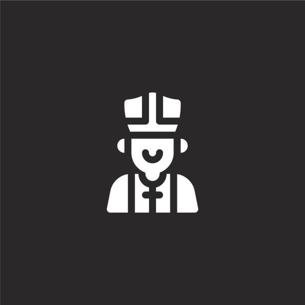 stockillustraties, clipart, cartoons en iconen met paus icoon. gevuld paus icoon voor website ontwerp en mobiel, app ontwikkeling. paus icoon van gevulde italië collectie geïsoleerd op zwarte achtergrond. - mijter