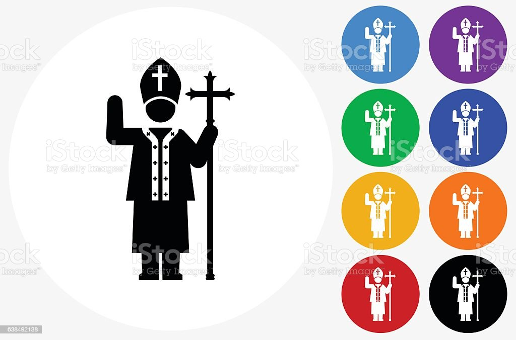 Pope Icon on Flat Color Circle Buttons vector art illustration