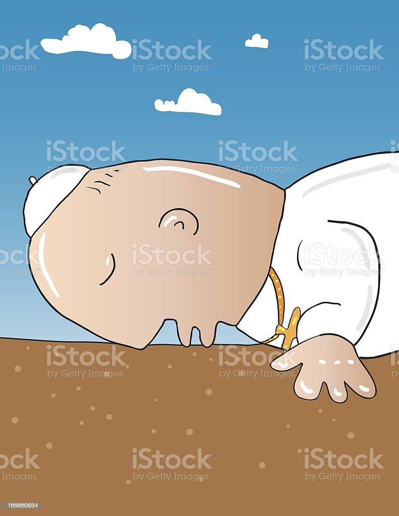 Pope kissing ground vector art illustration