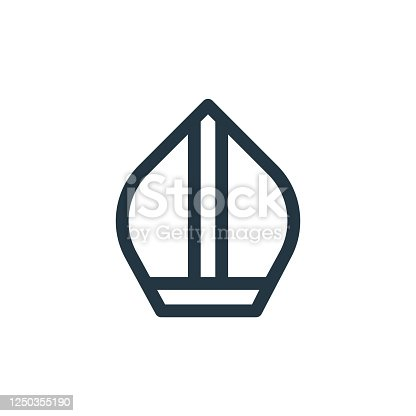 istock pope vector icon. pope editable stroke. pope linear symbol for use on web and mobile apps, logo, print media. Thin line illustration. Vector isolated outline drawing. 1250355190