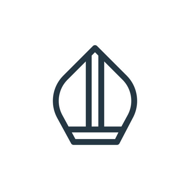 stockillustraties, clipart, cartoons en iconen met paus vector pictogram. paus bewerkbare beroerte. paus lineair symbool voor gebruik op web en mobiele apps, logo, print media. dunne lijnillustratie. vector geïsoleerde overzichtstekening. - mijter
