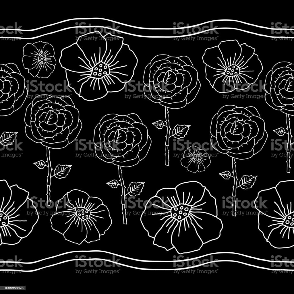 Poppies And Roses On Black Backgroundmonochromatic Flowers Seamles Rose Flower Diagram Of A In Background Monochromatic Repeat Patternbackground White