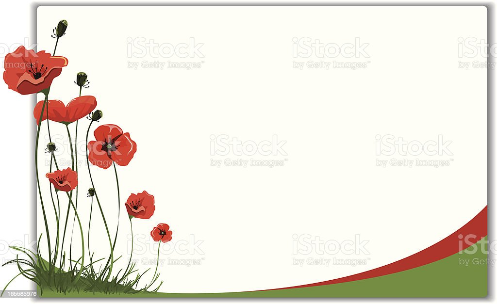 Poppies frame design vector art illustration
