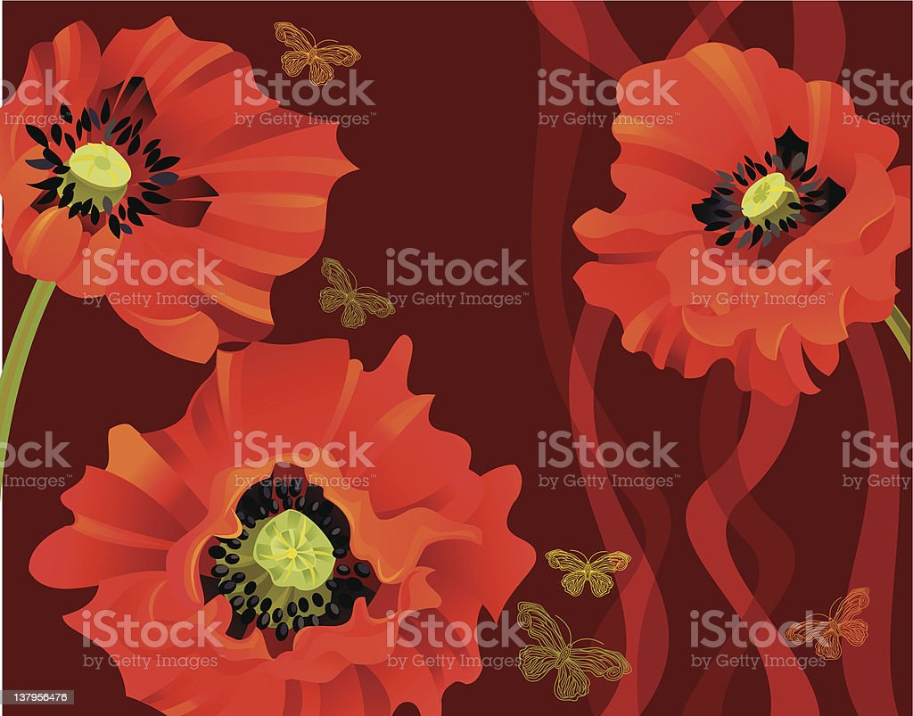 Poppies Greeting Card vector art illustration