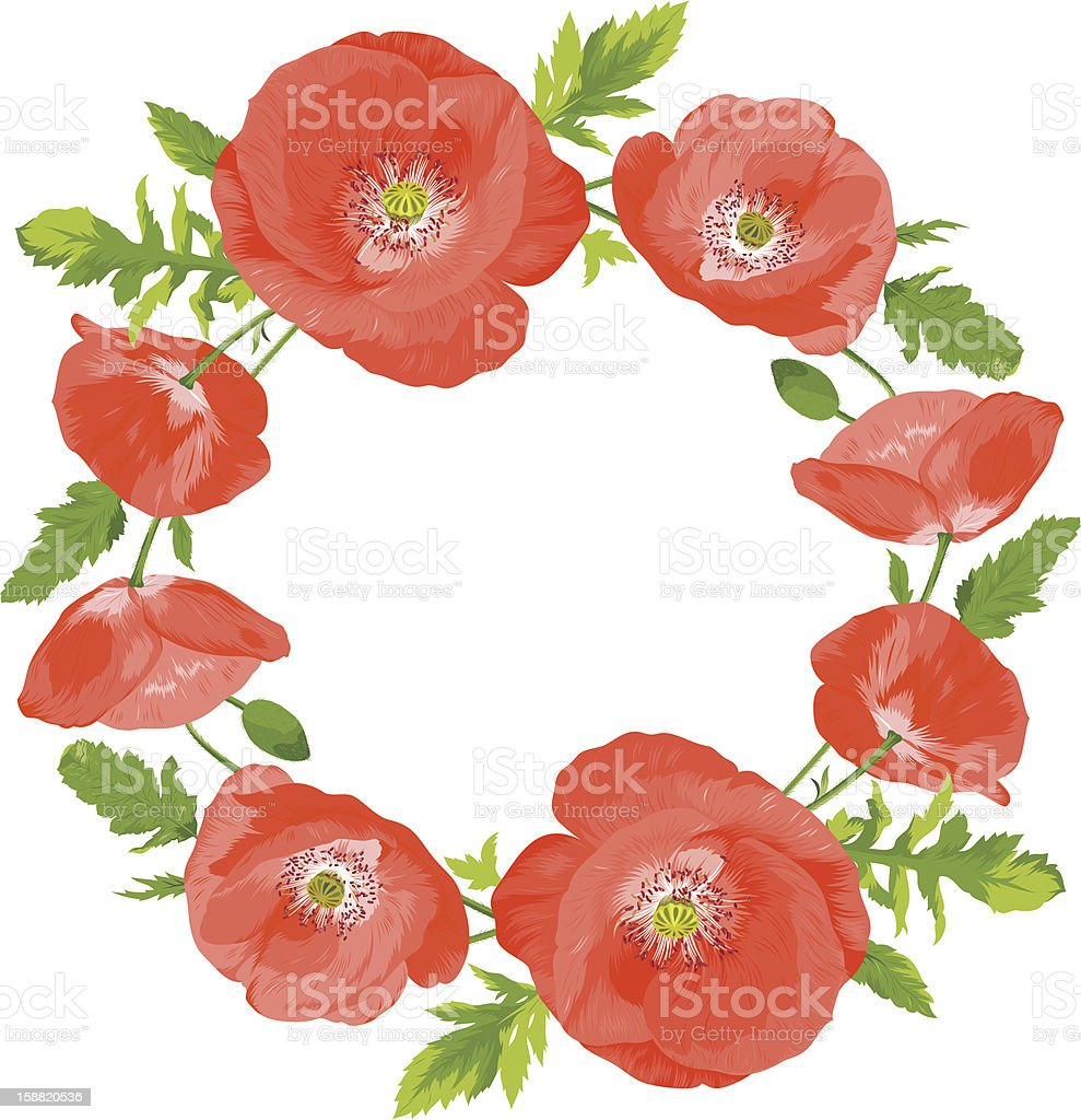 Poppies wreath royalty-free stock vector art
