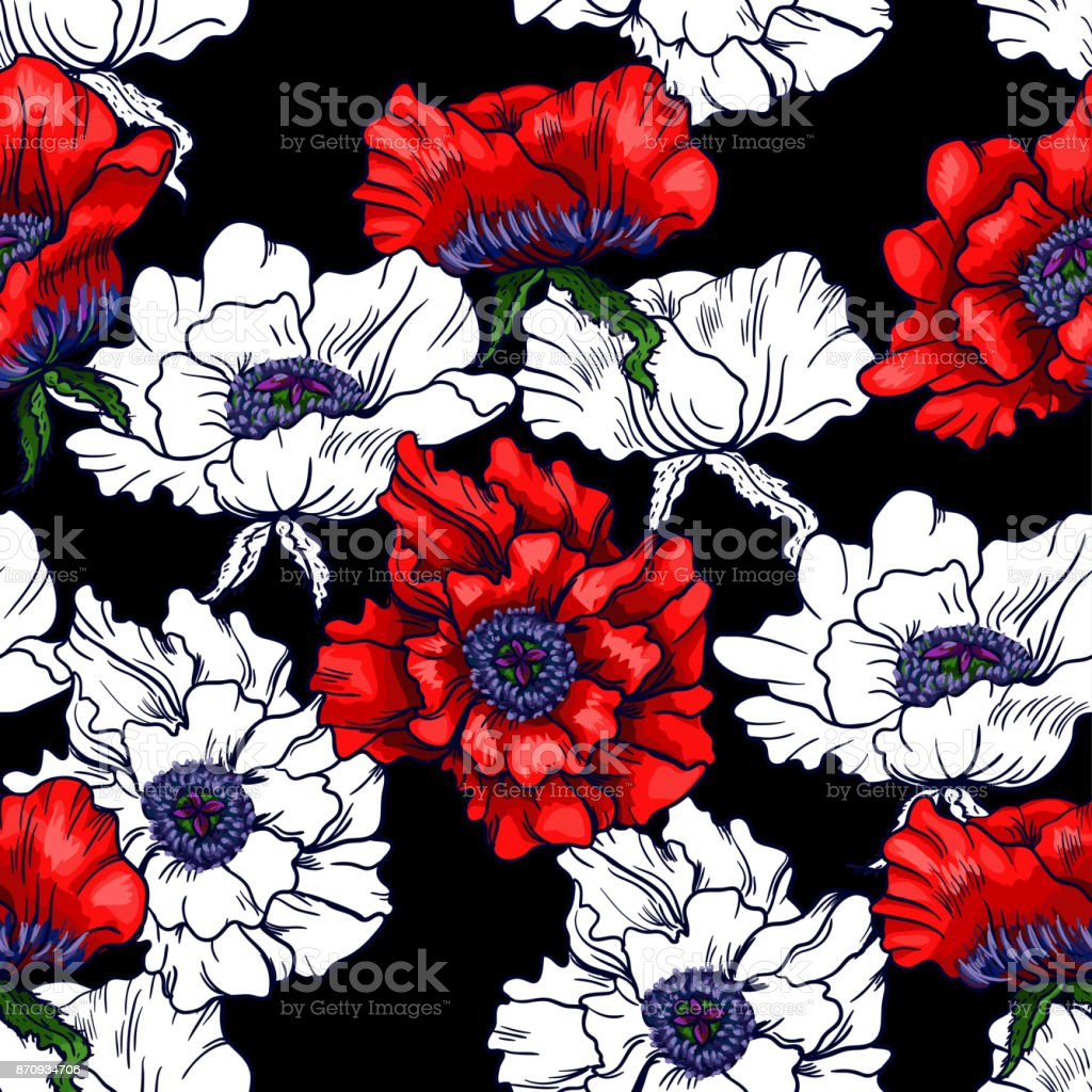 Poppy and camomile on white background. Seamless background pattern. Hand drawn vector illustration. vector art illustration