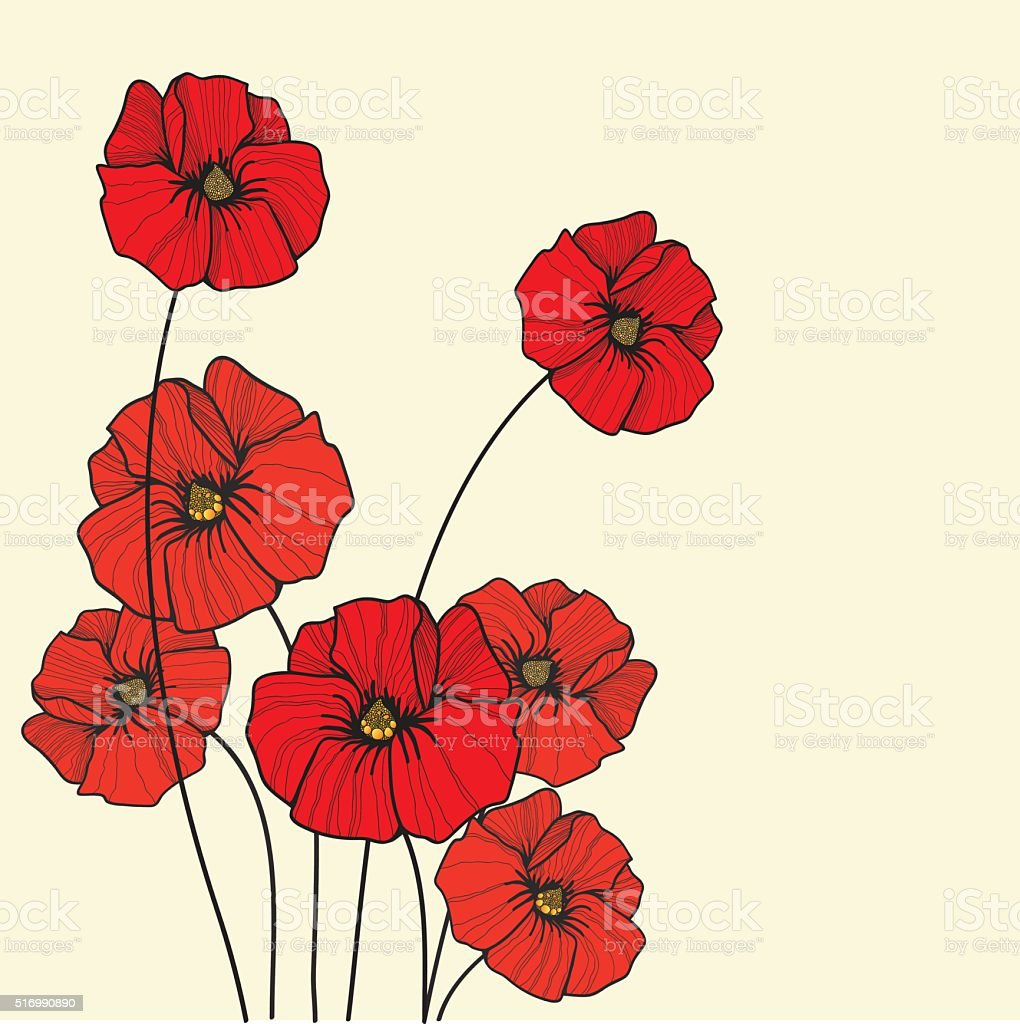 poppy background vector art illustration