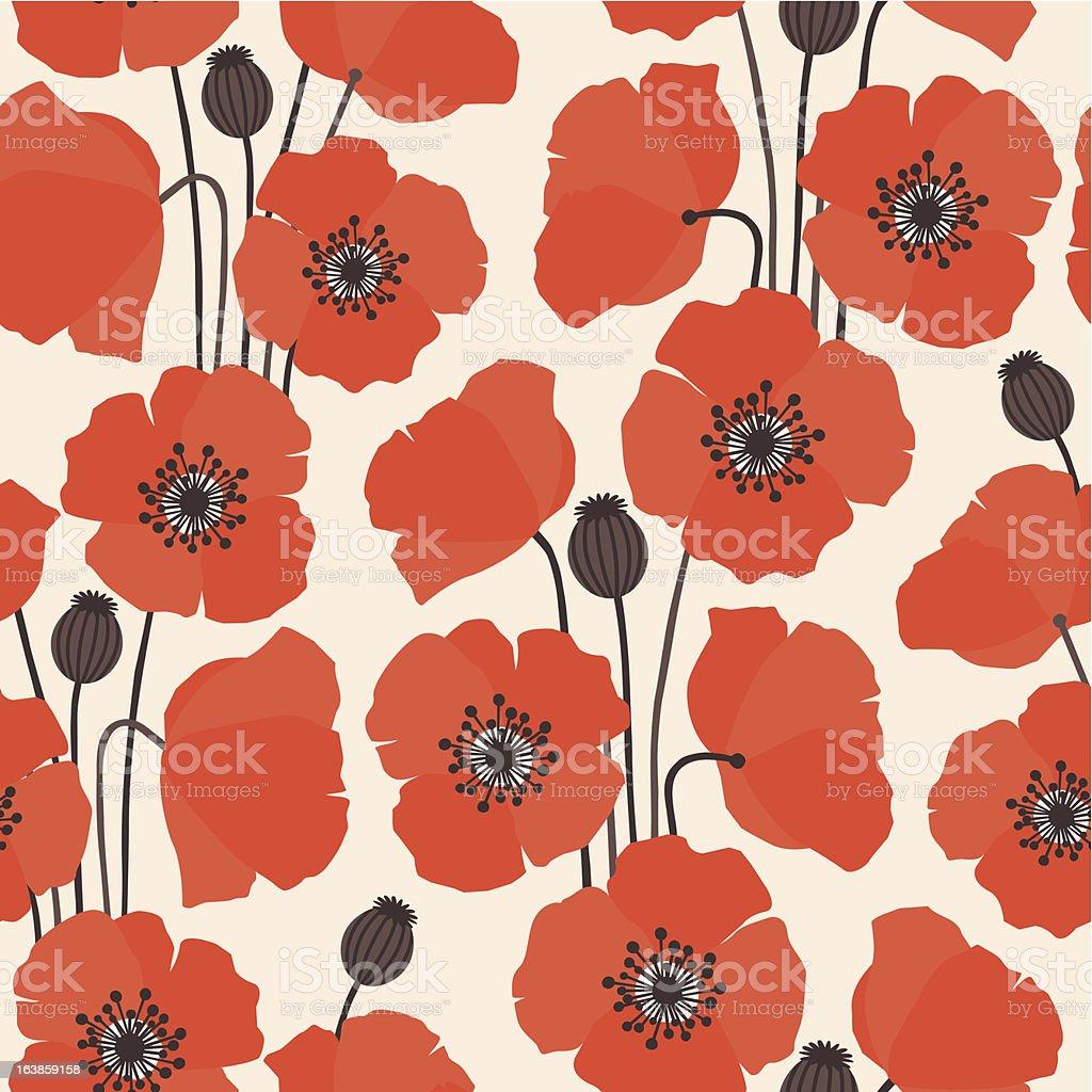 Poppy fabric vector art illustration