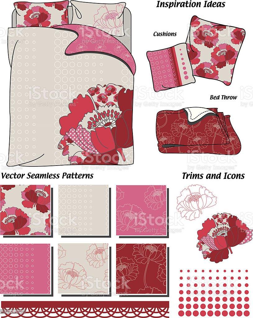 Poppy Floral Seamless Vector Patterns. vector art illustration