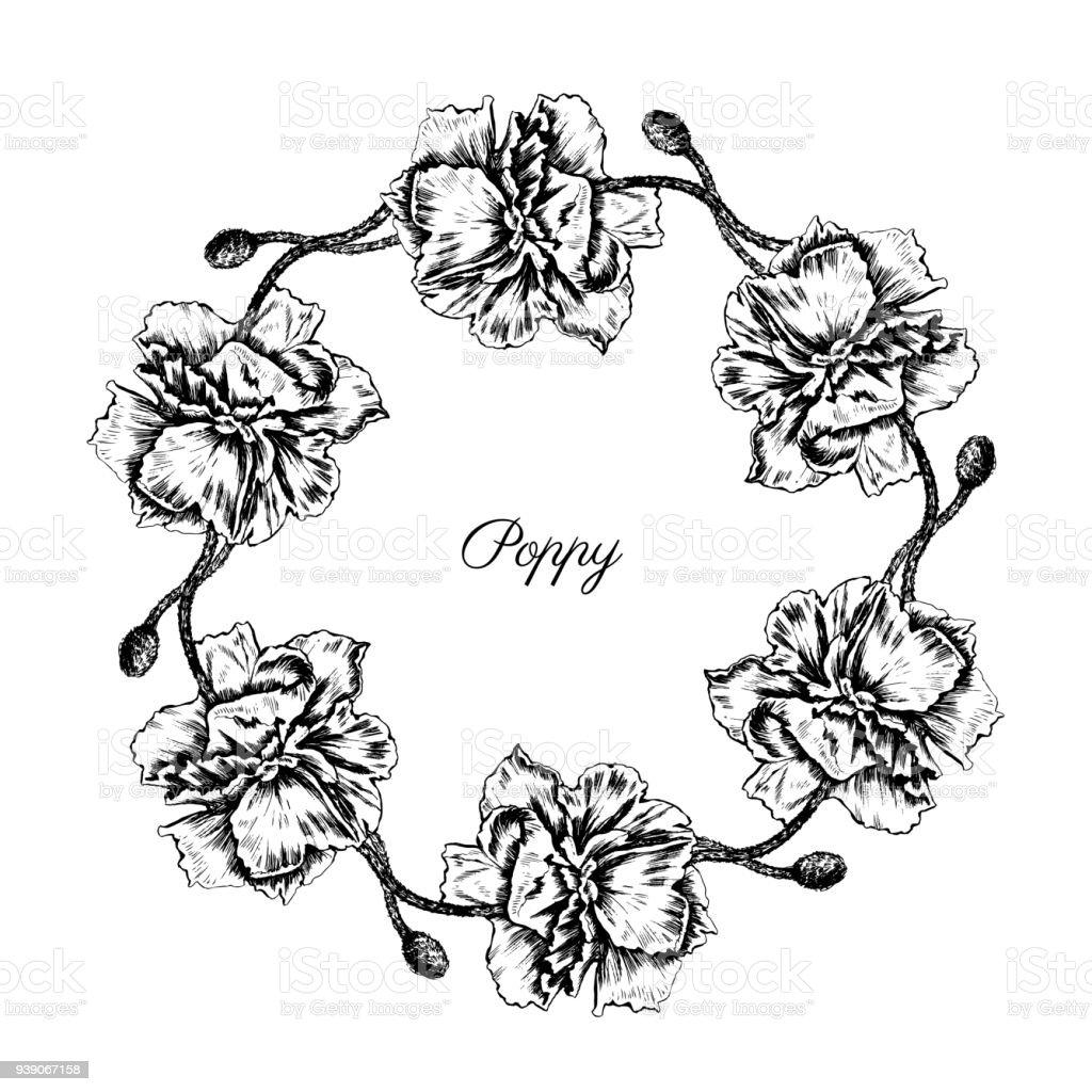 Ilustración de Ronda De Flores De Amapola Guirnalda Floral Aislado ...