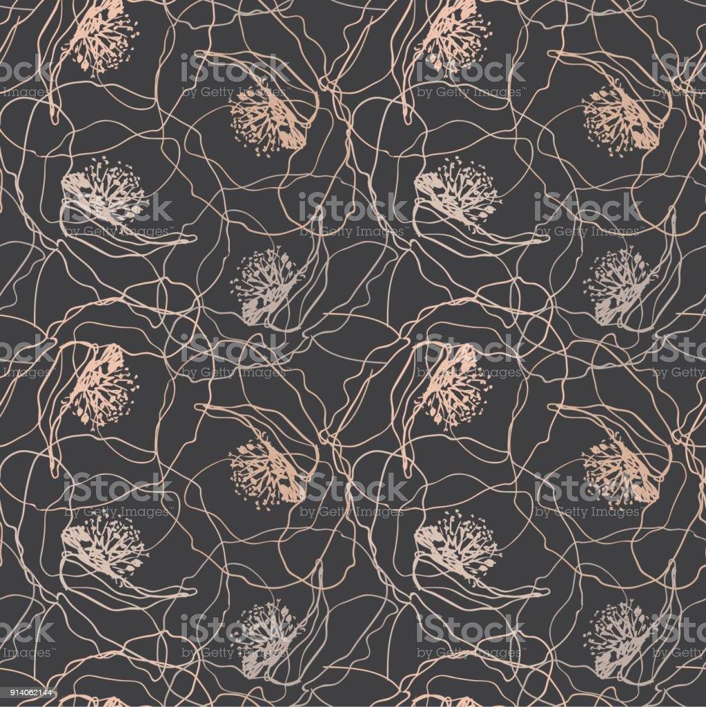 Poppy Flowers Seamless Pattern Elegant Vector Texture Design For
