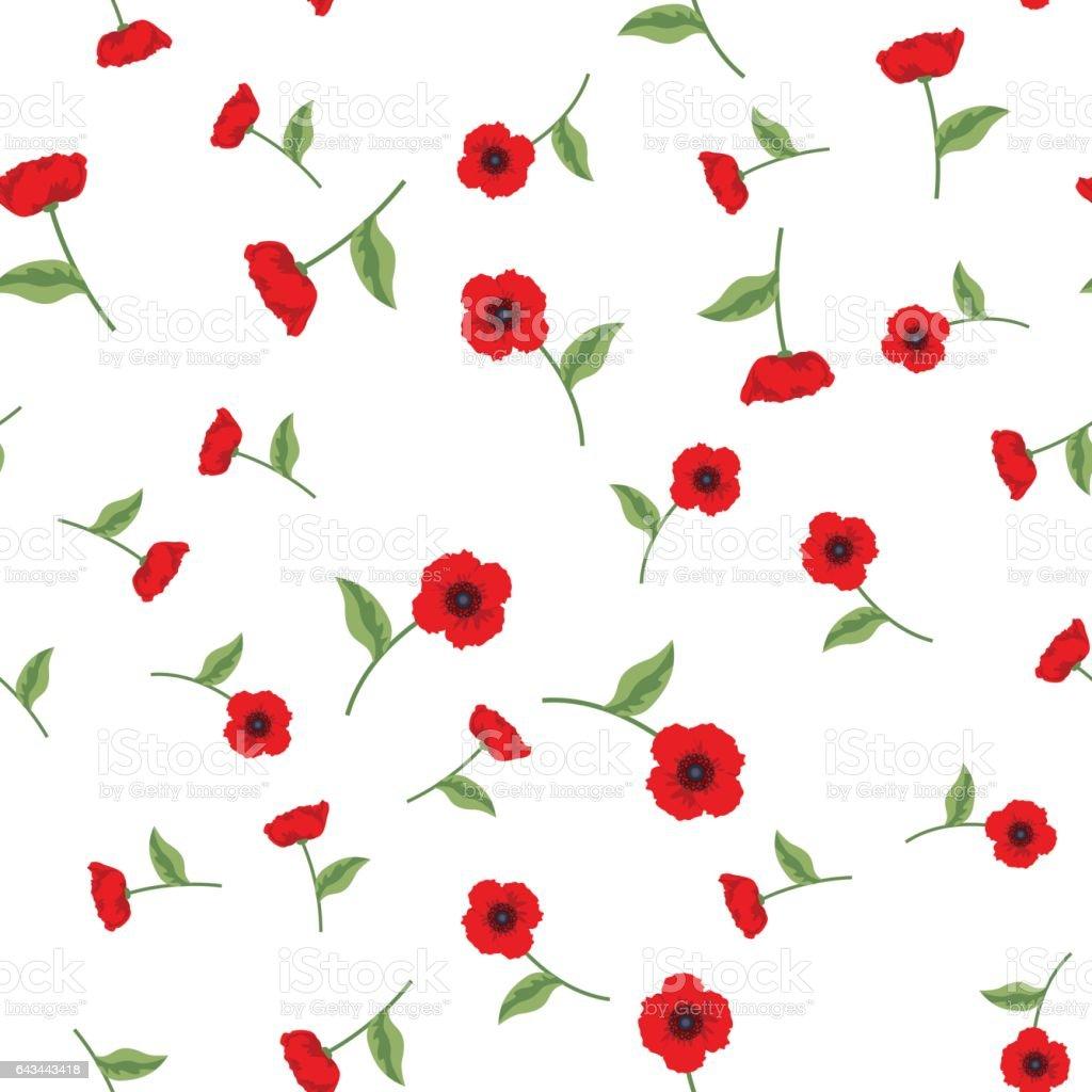 Flores de amapola con hojas de patrones sin fisuras - ilustración de arte vectorial