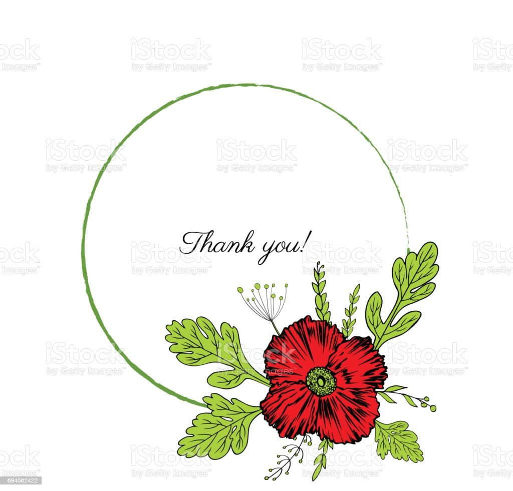 Mohn Blumen Kranz Isoliert Auf Weißem Hintergrund, Runde Rahmen  Handgezeichnete Doodle Vector Skizze Pflanzliche Vintage