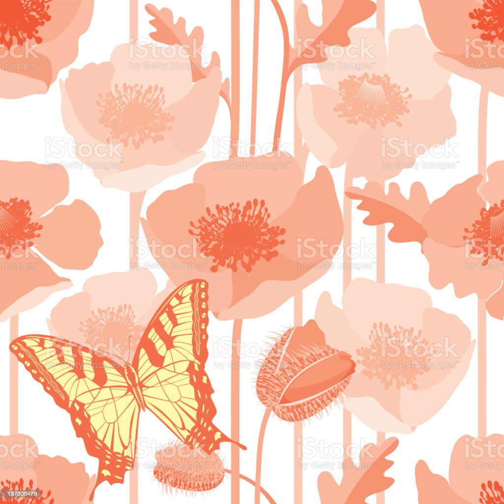 Poppy Seamless Pattern with Butterfly royalty-free poppy seamless pattern with butterfly stock vector art & more images of animal