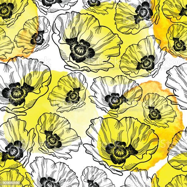 Poppy seamless vector pattern ink drawing with watercolor texture vector id909680590?b=1&k=6&m=909680590&s=612x612&h=qrxr3irpfpruea85daqckhguq nxhtdse yqfodkv5u=