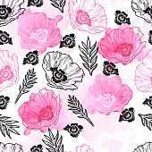 Poppy Seamless Vector Pattern - Ink Drawing with Watercolor Texture