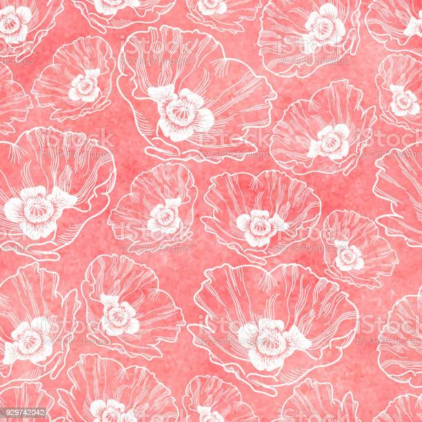 Poppy seamless vector pattern ink drawing with watercolor texture vector id929742042?b=1&k=6&m=929742042&s=612x612&h=c88fl6duehgiks dipgen17e7avxhhsyd8u3qvwi5xg=