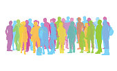 A vector silhouette illustration of a multi-coloured crowd of people including young adults, teenagers, mature adults, and children.